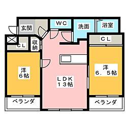 三重県四日市市東日野町の賃貸マンションの間取り