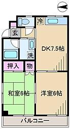 東京都足立区宮城1丁目の賃貸マンションの間取り
