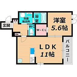 Osaka Metro谷町線 千林大宮駅 徒歩13分の賃貸マンション 2階1LDKの間取り