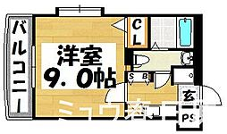 福岡県大野城市雑餉隈町4丁目の賃貸マンションの間取り