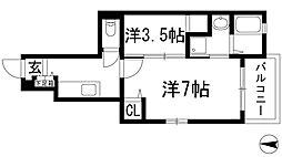大阪府池田市木部町の賃貸アパートの間取り