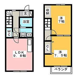 [テラスハウス] 愛知県半田市瑞穂町5丁目 の賃貸【/】の間取り