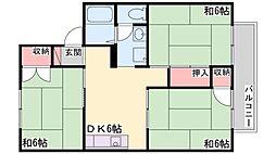 兵庫県加古川市別府町西町の賃貸アパートの間取り