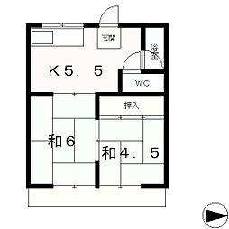 滋賀県大津市赤尾町の賃貸アパートの間取り