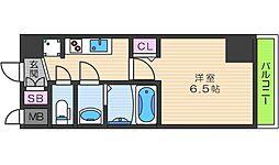 JR大阪環状線 天王寺駅 徒歩7分の賃貸マンション 13階1Kの間取り