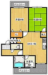 大阪府堺市西区浜寺諏訪森町中2丁の賃貸アパートの間取り