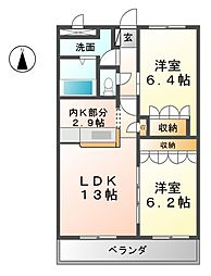 愛知県北名古屋市法成寺法師堂の賃貸マンションの間取り