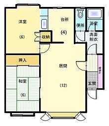 北海道函館市美原5丁目の賃貸アパートの間取り