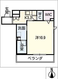 仮)シャーメゾン高蔵寺 1階1Kの間取り