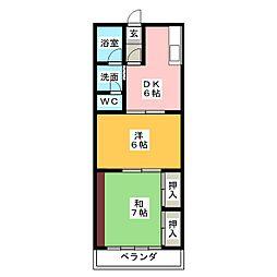 愛知県名古屋市緑区六田2丁目の賃貸マンションの間取り