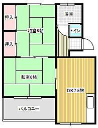 愛知県名古屋市中川区広田町2丁目の賃貸マンションの間取り