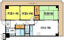シェモア平野駅前[4階]の間取り