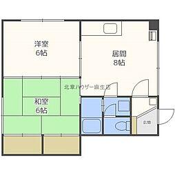 北海道札幌市北区北三十四条西10丁目の賃貸アパートの間取り