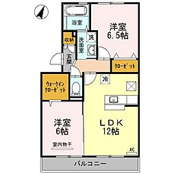 香川県高松市香西南町の賃貸アパートの間取り