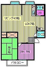 ビ-ライン三橋B[202号室]の間取り