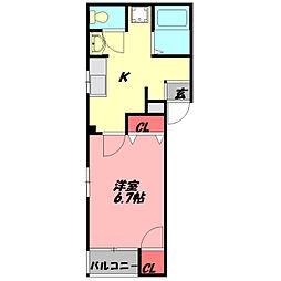 ラ・リンピア 2階1DKの間取り