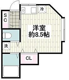 大和町2丁目 貸アパート 1階ワンルームの間取り