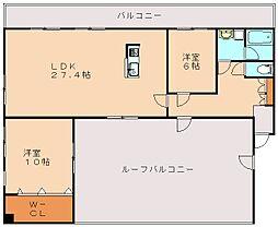 福岡県飯塚市飯塚の賃貸マンションの間取り
