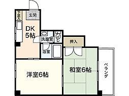 広島県広島市西区都町の賃貸マンションの間取り