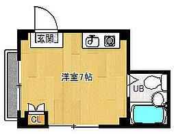 京都府京都市上京区築山南半町の賃貸マンションの間取り