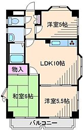 神奈川県横浜市都筑区東山田2丁目の賃貸マンションの間取り