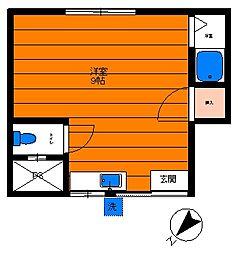 中台荘A棟[102号室]の間取り