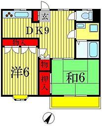 グリーンハイツ八ヶ崎[2階]の間取り