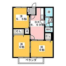 ポワソンボワールB[2階]の間取り