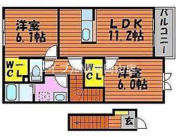 岡山県赤磐市円光寺の賃貸アパートの間取り