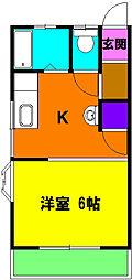 静岡県浜松市中区萩丘2丁目の賃貸アパートの間取り