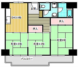 UR南港わかぎの団地[44-324号室]の間取り