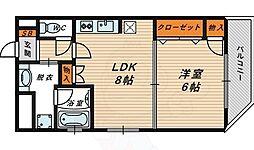 クレアート北大阪レヴァンテ 8階1LDKの間取り