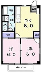 広島県福山市山手町1の賃貸アパートの間取り