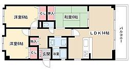 愛知県名古屋市守山区本地が丘の賃貸マンションの間取り
