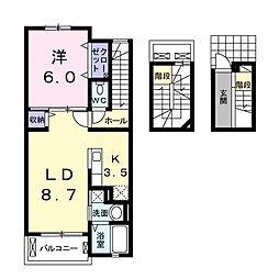 茨城県龍ケ崎市野原町の賃貸アパートの間取り