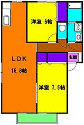 静岡県浜松市中区領家1丁目の賃貸アパートの間取り