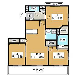 Blanc Court E(東)、W(西)[3階]の間取り
