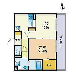 Dーroom新宮 3階1LDKの間取り
