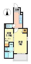 愛知県海部郡蟹江町本町9丁目の賃貸アパートの間取り