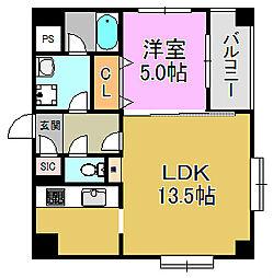 ワイズアーク堺東[10階]の間取り