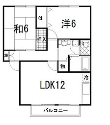 ハウス茶屋[B102号室]の間取り