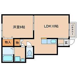 静岡県静岡市駿河区谷田の賃貸アパートの間取り