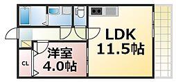 近鉄大阪線 今里駅 徒歩5分の賃貸マンション 2階1LDKの間取り