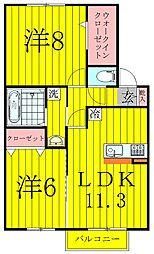 千葉県柏市増尾1丁目の賃貸アパートの間取り