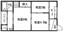 藤荘(東棟の東側にある棟)奥の棟[203号室]の間取り