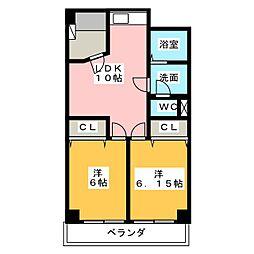 花原マンション[4階]の間取り