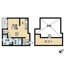 福岡県福岡市東区箱崎6丁目の賃貸アパートの間取り
