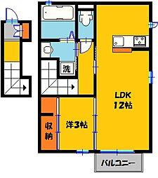 栃木県下都賀郡壬生町至宝2丁目の賃貸アパートの間取り