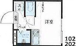 Nano北新宿2 1階ワンルームの間取り