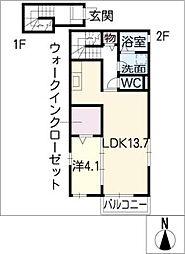 テラスびわ[2階]の間取り